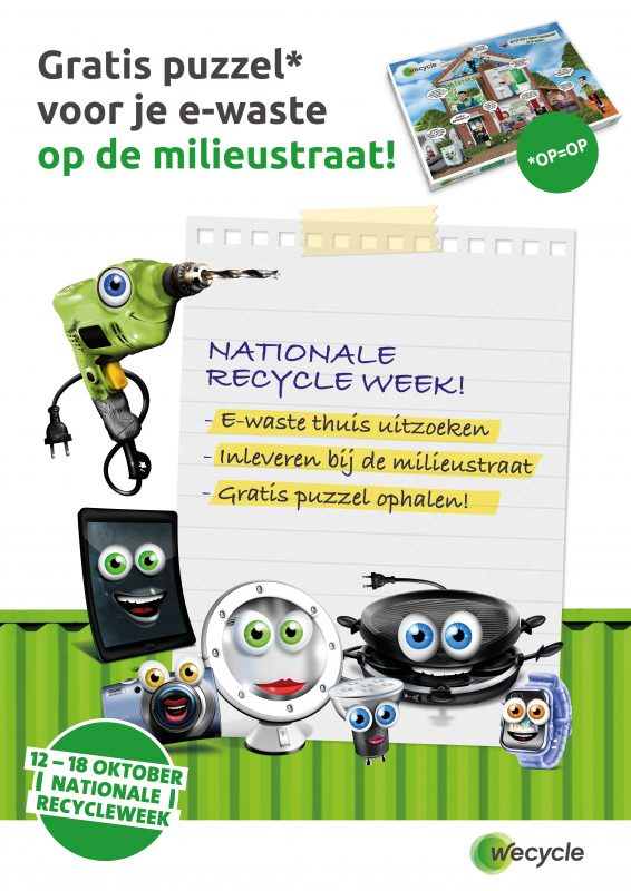 flyer met oude apparaten met kladbloknotitie nationale recycleweek