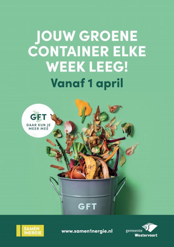 poster met afvalemmer met GFT en tekst jouw groene container elke week leeg vanaf 1 april